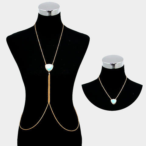 2 piece faux turquoise body chain bib collar choker tassel necklace