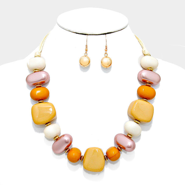 "21"" gold mustard bead collar necklace 1"" earrings"