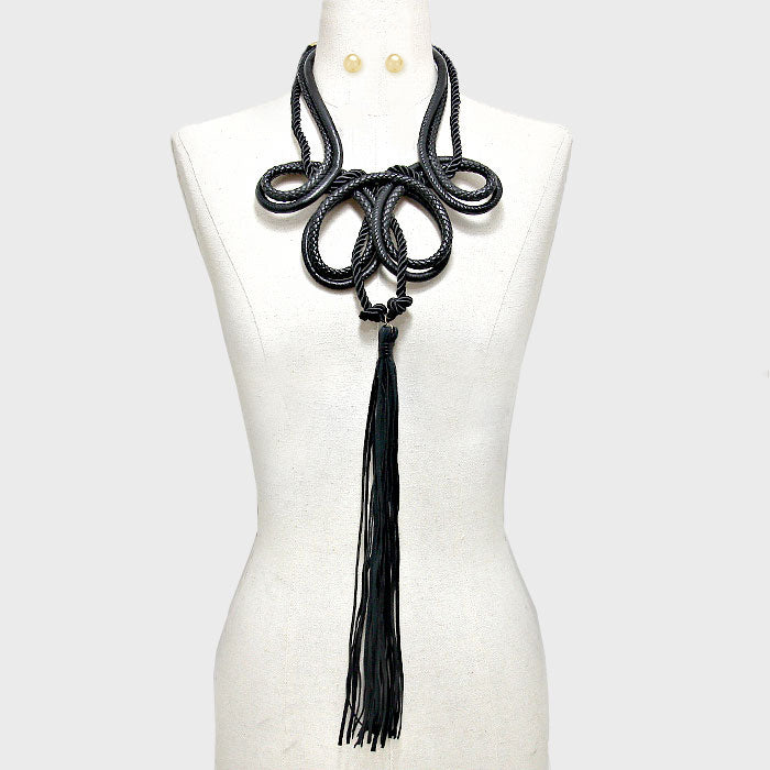 "20"" rope long faux leather 20"" tassel fringe long huge necklace 4"" earrings"