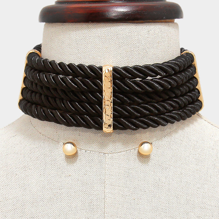 "14""  twisted rope wide collar bib choker necklace .30"" earrings chunky"