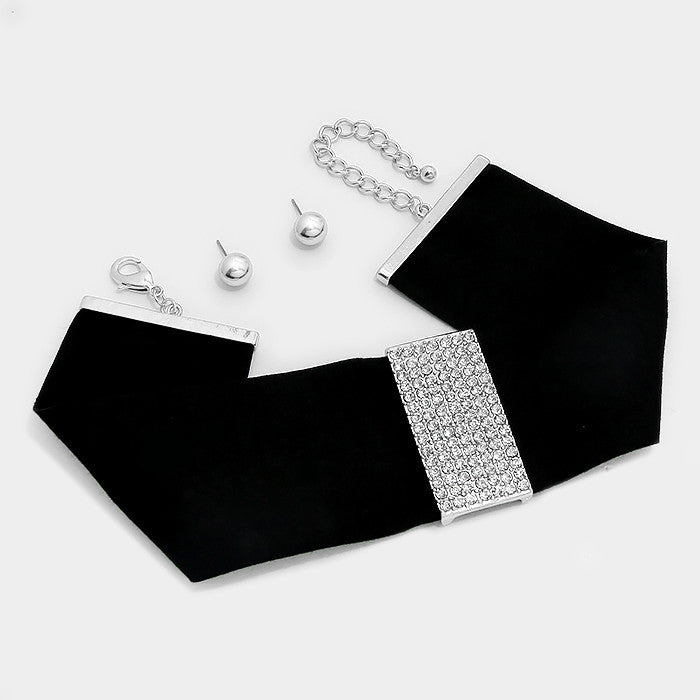 "13"" - 17"" black clear crystal paved 4"" bar Necklace choker collar bib earrings"