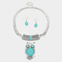 "10"" silver faux turquoise owl collar choker necklace 1"" earrings"