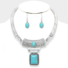 "14"" silver turquoise choker collar bib pendant necklace 1.50"" earrings"
