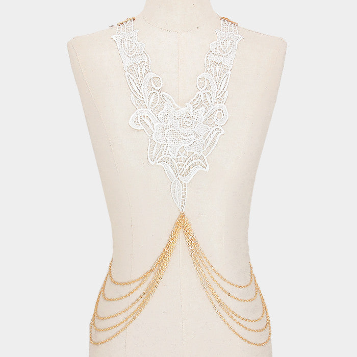 "24"" gold lace choker collar bib necklace floral body chain"