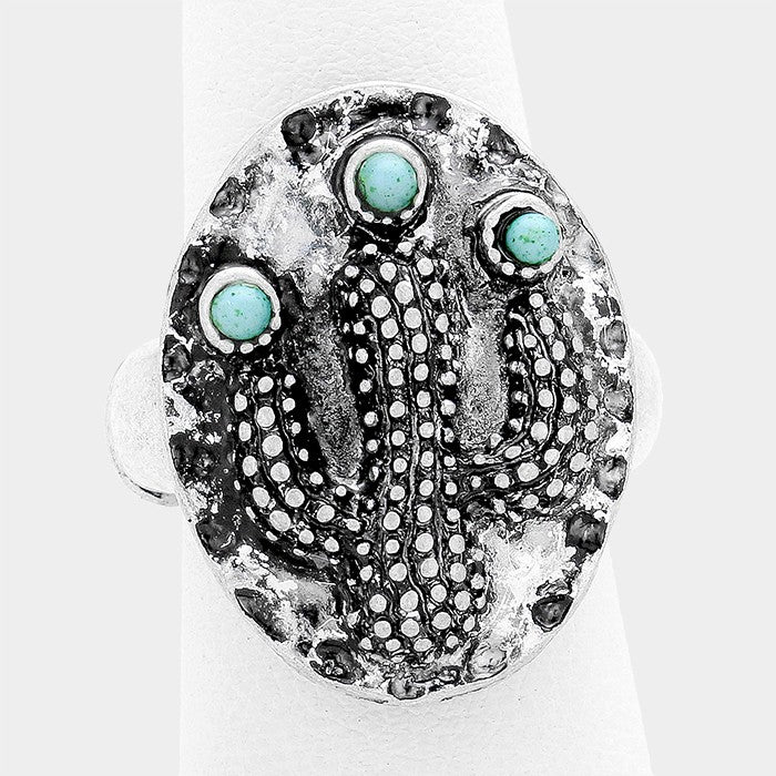 "1"" silver turquoise cactus boho stretch ring free size"