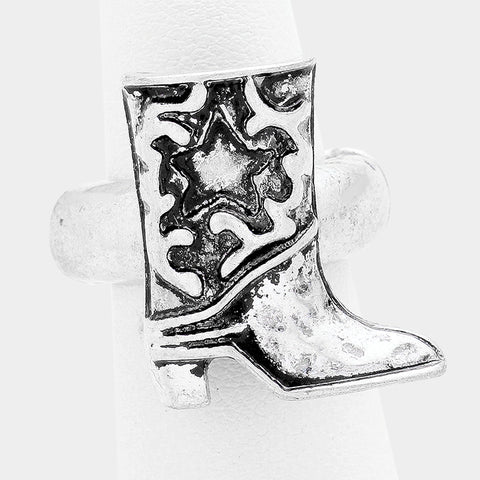 "1"" cowboy boot western cowgirl stretch ring"