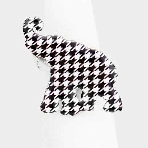 "1"" houndstooth elephant stretch ring"