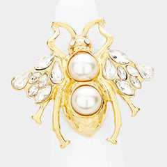 "1.25"" gold crystal pearl adjustable bee ring"