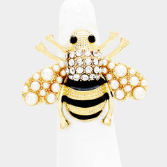 "1.50"" faux pearl crystal bee adjustable ring"