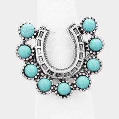 "1"" turquoise cowboy horseshoe western stretch ring"