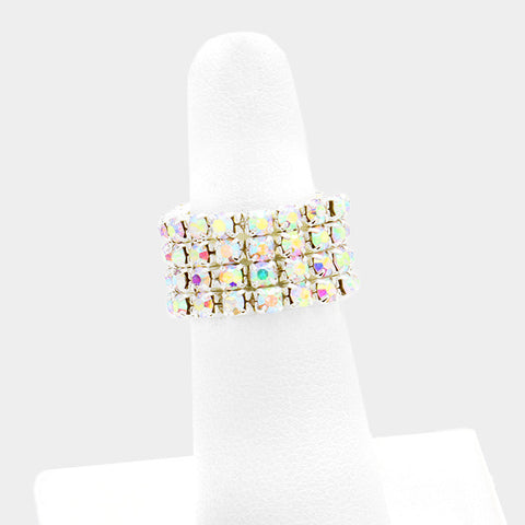 ".50"" crystal 4 row stretch ring free size"