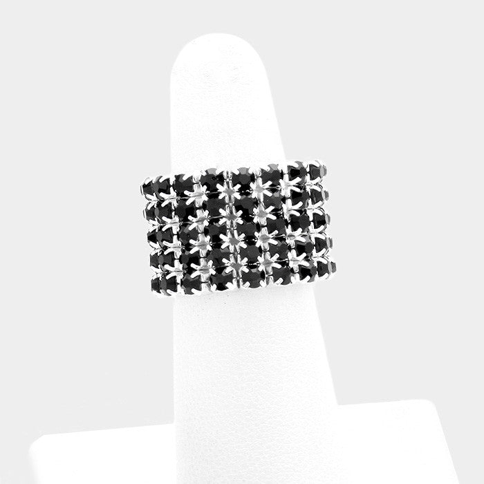 ".60"" crystal 5 row stretch ring free size"