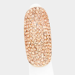 "2"" crystal pave stretch ring free size cocktail"