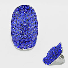 "1.50"" crystal pave stretch cocktail ring"