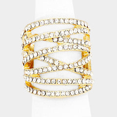 "1.25"" crystal crossed multi row stretch cocktail ring"