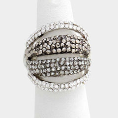 "1"" crystal multi row stretch cocktail ring rhinestones"