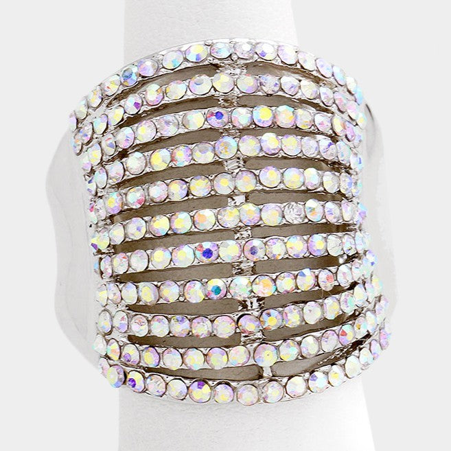 "1"" gold crystal pave multi 11 row stretch ring cocktail"