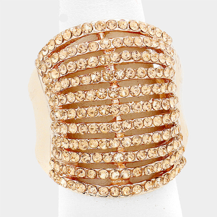 "1"" gold crystal pave multi row stretch ring cocktail"