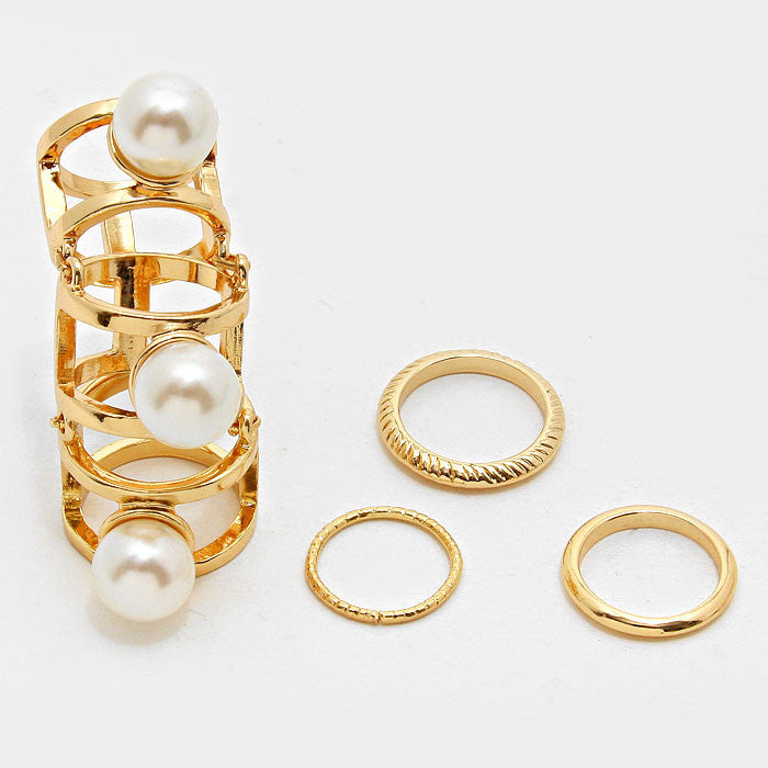 "2.25"" gold faux pearl 4 piece knuckle chunky cage joint ring"
