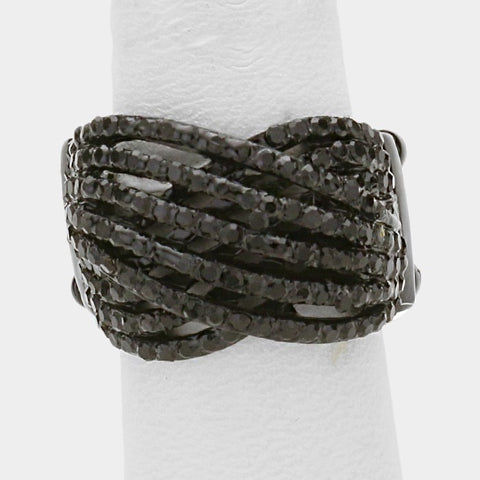 ".60"" wide black crystal pave stretch cocktail ring"