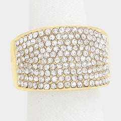 ".60"" wide crystal pave stretch cocktail ring"