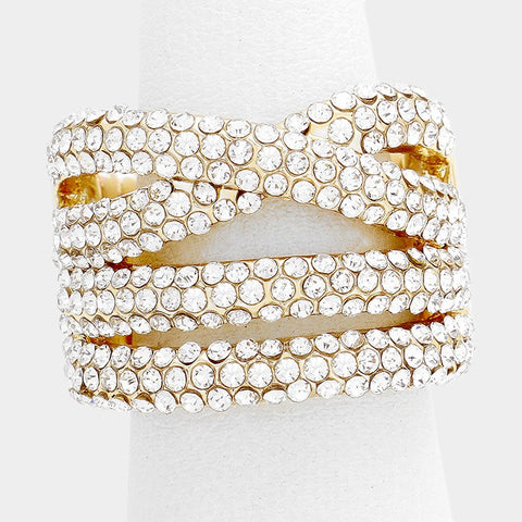 ".70"" crystal crossed multi row stretch cocktail ring rhinestones"