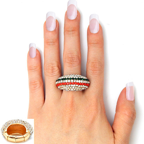 ".60"" gold crystal pave dome striped stretch cocktail ring"