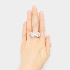 ".60"" wide clear crystal pave stretch cocktail ring"