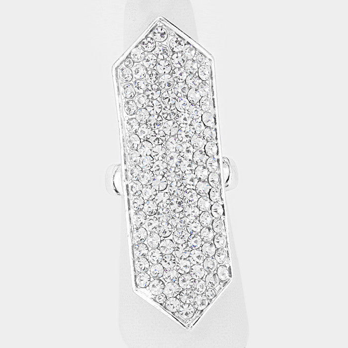 "2"" crystal pave hexagon full finger stretch ring"