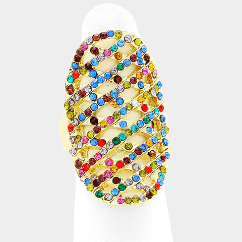 ".50"" multi crystal oval stretch cocktail ring rhinestones"