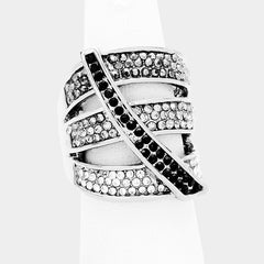 "1"" crystal pave cut out stretch cocktail ring"