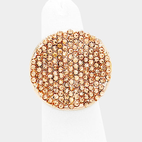 "1"" rose gold ab crystal pave round stretch ring bridal prom"