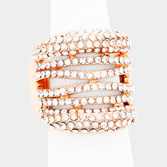".80"" rose gold clear crystal pave cut out stretch bridal prom"