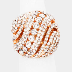 "1"" crystal pave swirl stretch ring free size cocktail bridal prom"