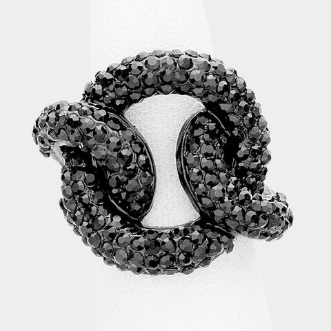 "1"" black crystal pave link stretch ring bridal prom"