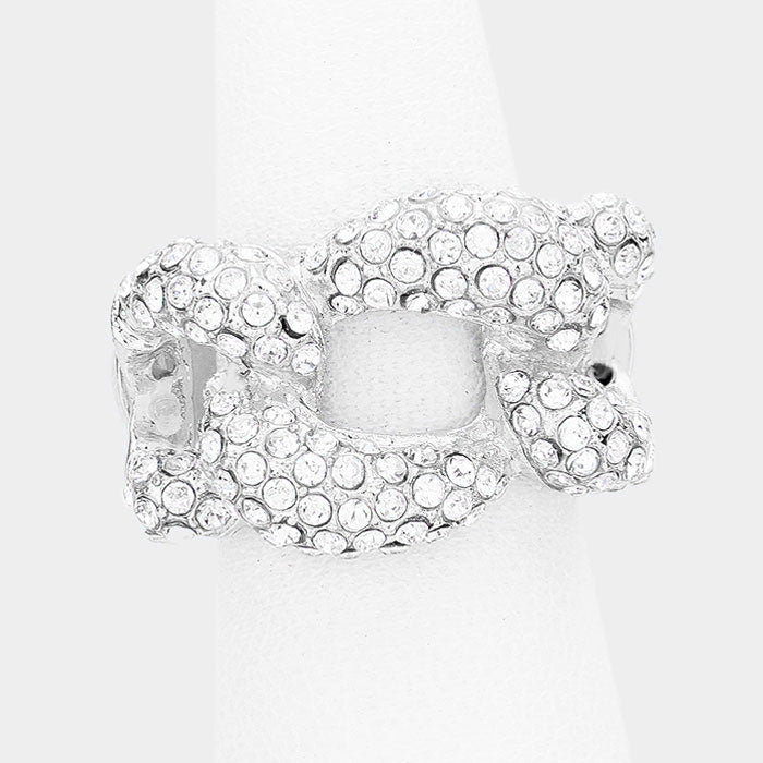 ".60"" crystal pave link stretch ring bridal prom"