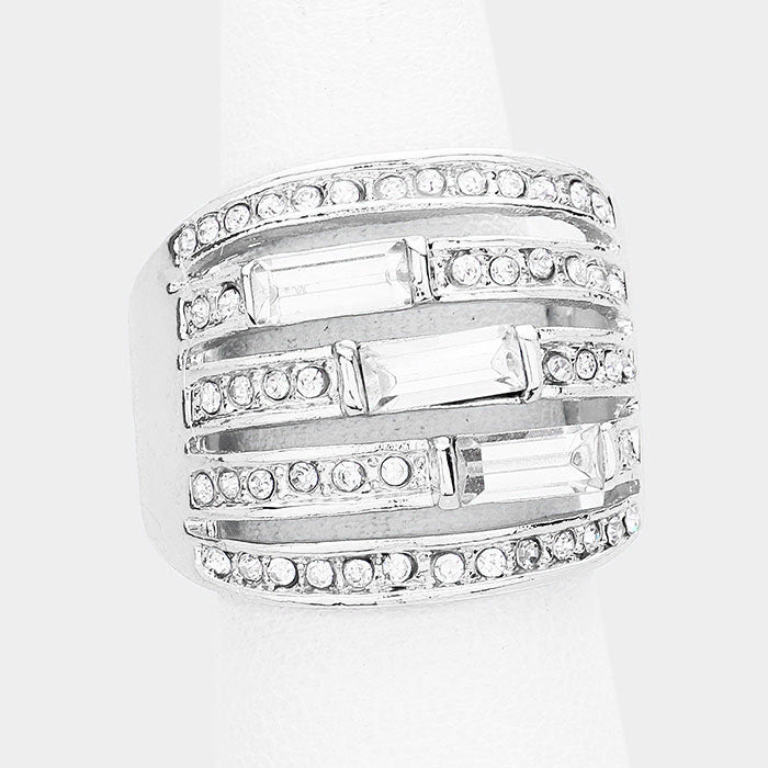 ".75"" crystal pave stretch ring bridal prom"