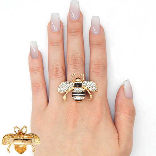 "1.30"" crystal bee stretch ring"