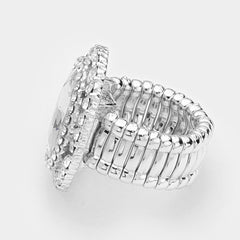 "1.20"" crystal pave cocktail stretch oval ring"