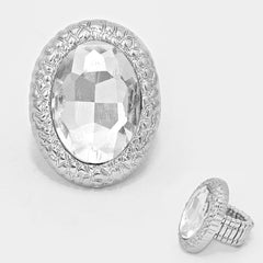 "1.25"" crystal pave cocktail stretch oval ring"