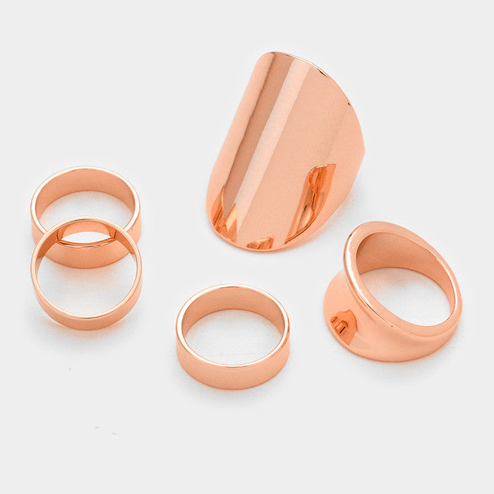 5 piece smooth knuckle midi ring