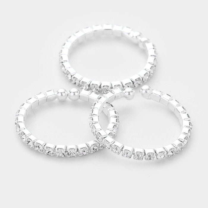 3 piece silver clear crystal pave cuff stack ring