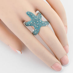 "1.50"" color starfish sea life nautical ring adjustable"