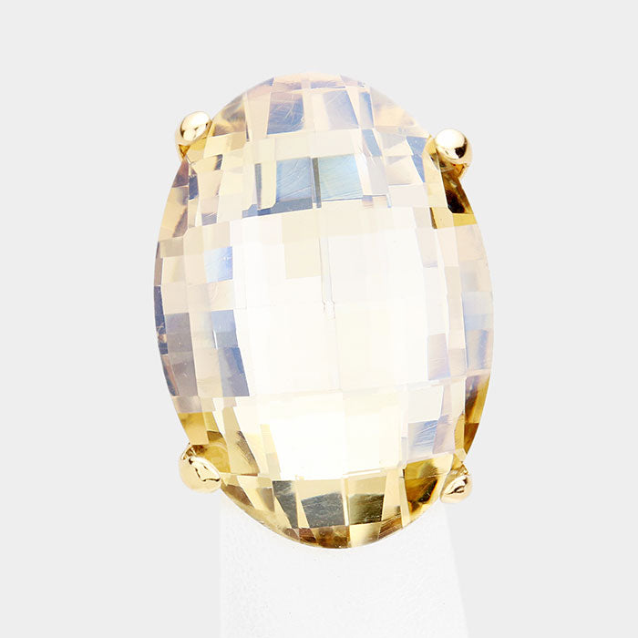 "1.50"" gold large crystal cocktail stretch oval ring"