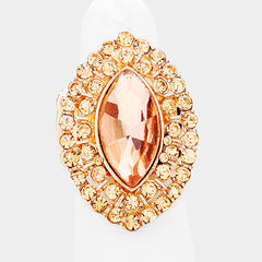 "1.25"" rose gold crystal oval stretch ring bridal prom"