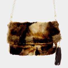 "12"" x 8"" brown ombre fluffly fur fold over tassel clutch bag purse pocketbook"