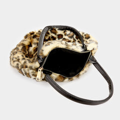 "12"" X 8"" leopard faux fur tote bag purse handbag"