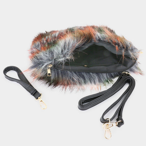 "12"" x 9"" ombre fluffly fur clutch bag purse pocketbook"