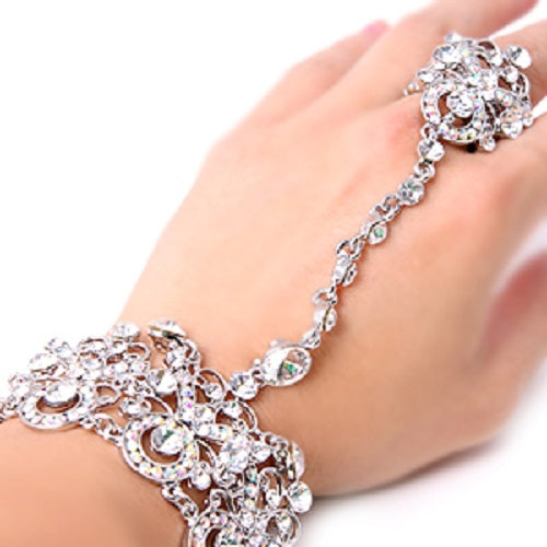 silver ab crystal hand bracelet adjustable ring bridal prom