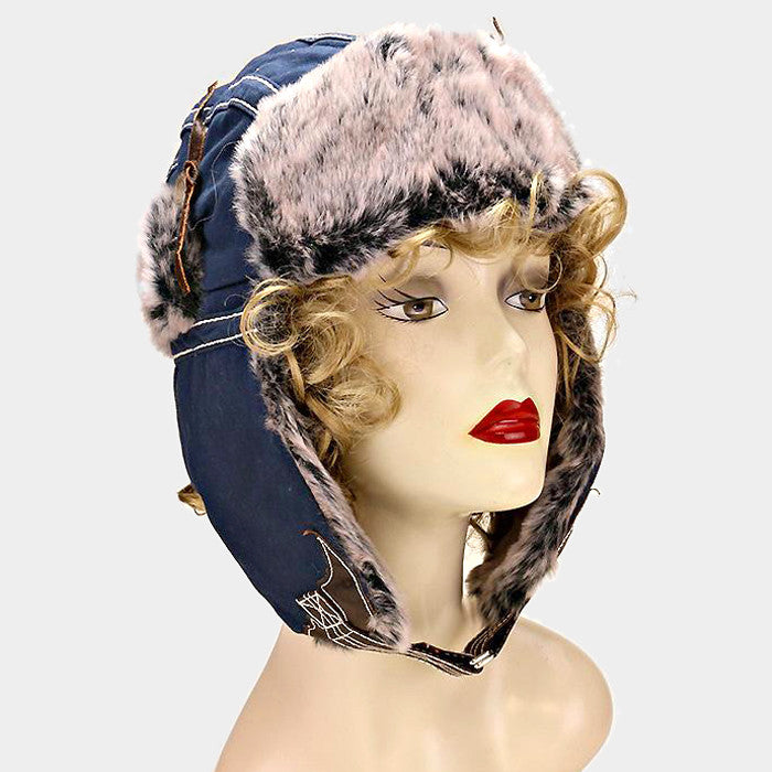 blue faux fur winter russian earflap hat